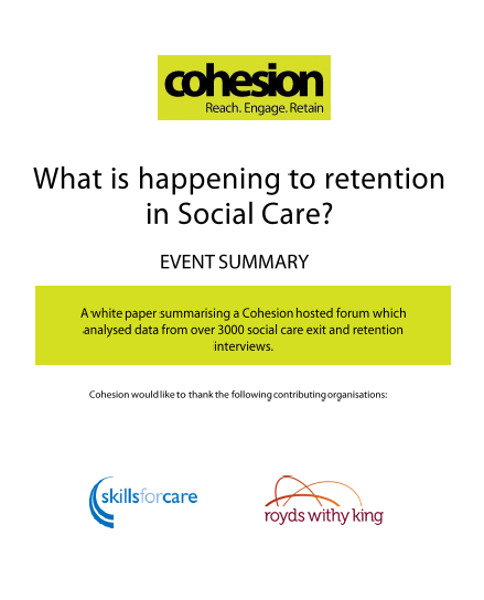 What is happening to retention in social care?
